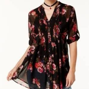 American Rag Sheer Printed Pintucked Blouse